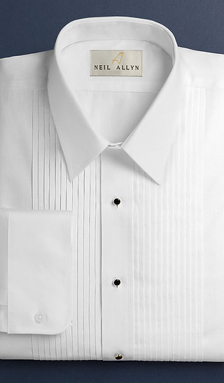 "1/4"" Pleat, Lay Down Collar Tux Shirt"