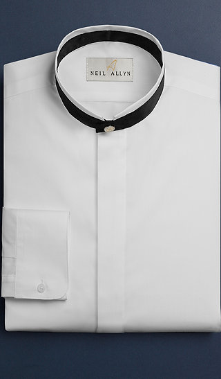 Mandarin Collar Tux Shirt - White with black trim