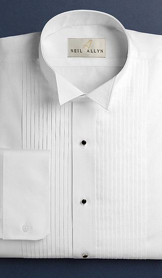 "1/4"" Pleat, Wing-tip collar Tux Shirt"