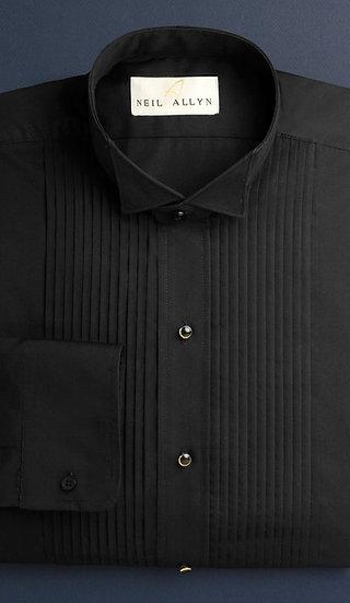 "1/4"" Pleat, Wing-tip Collar Tux Shirt, Black"