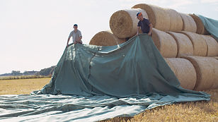 Protexia Hay Tarp being installed