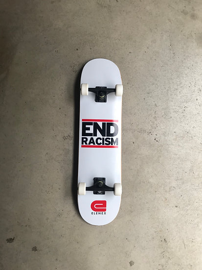 end racism skateboard complete