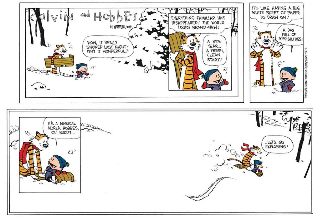 Calvin and Hobbes winter tobogganing in Haliburton