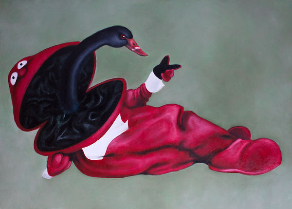 attempt to hide a black swan #3. oil on