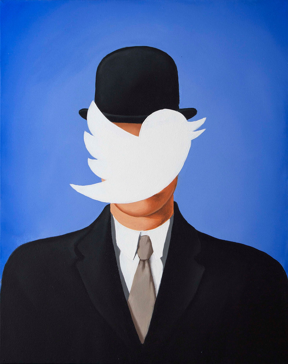 Man in the bowler hat, magritte, nicola piscopo, twitter, bird, art