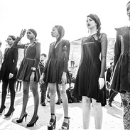 """""""Models Valentino"""" End of a fashion week in Paris. The beautiful models were there at the Jardin des Tuiléries for people to take photos."""