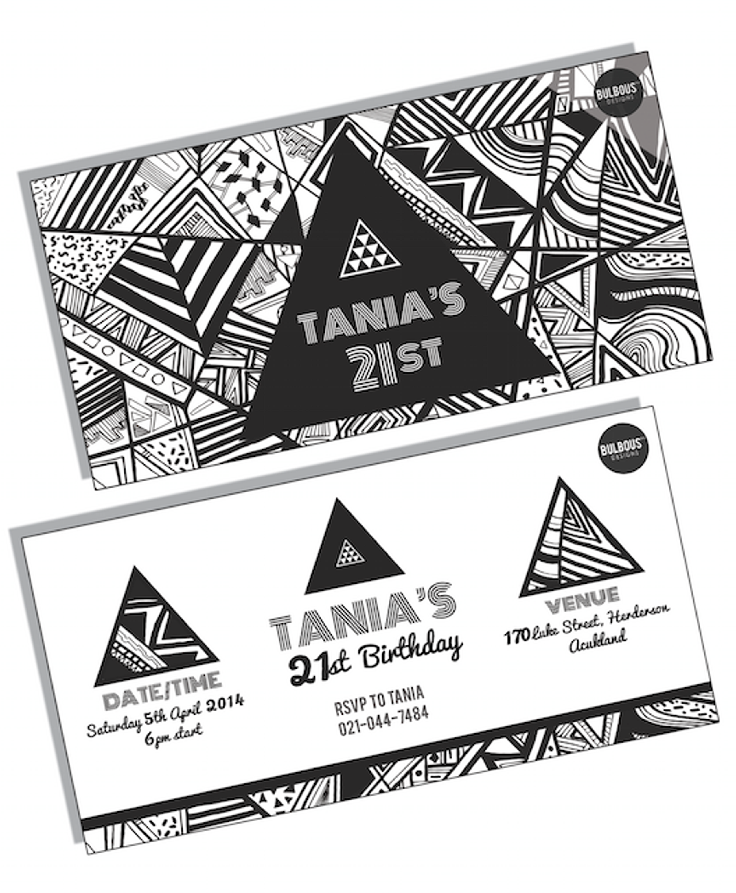 Bulbous Designs NZ – Black and White 21st Birthday Invitations