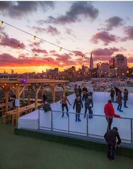 Ice skating at Skylight, Tobacco Dock