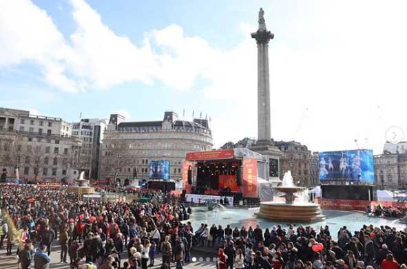 Celebrating in Trafalgar Square