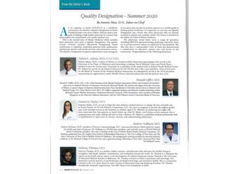 Dr. Nullman Receives Quality Designation Recognization From DCMA - Miami Medicine, Summer 2020