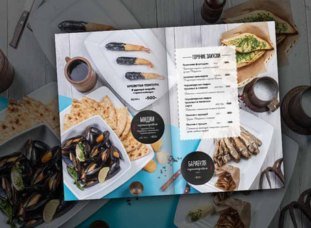 Фуд съемка и дизайн меню кафе Delmar в городе Сочи