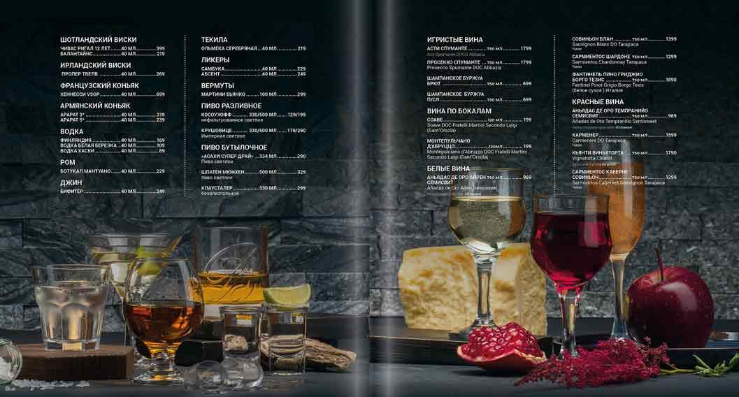 Фотографии для меню, разворот с напитками