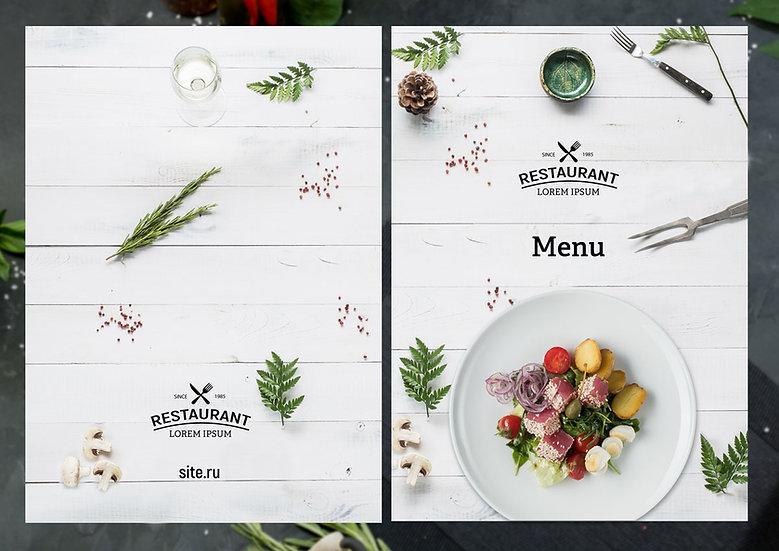 Обложка для белого меню