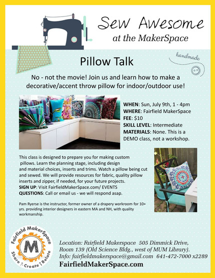 "Learn How to Make a Throw Pillow at ""Pillow Talk"""