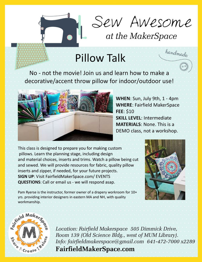 """Learn How to Make a Throw Pillow at """"Pillow Talk"""""""
