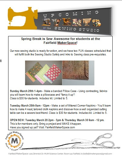 Spring Break Sewing Workshop