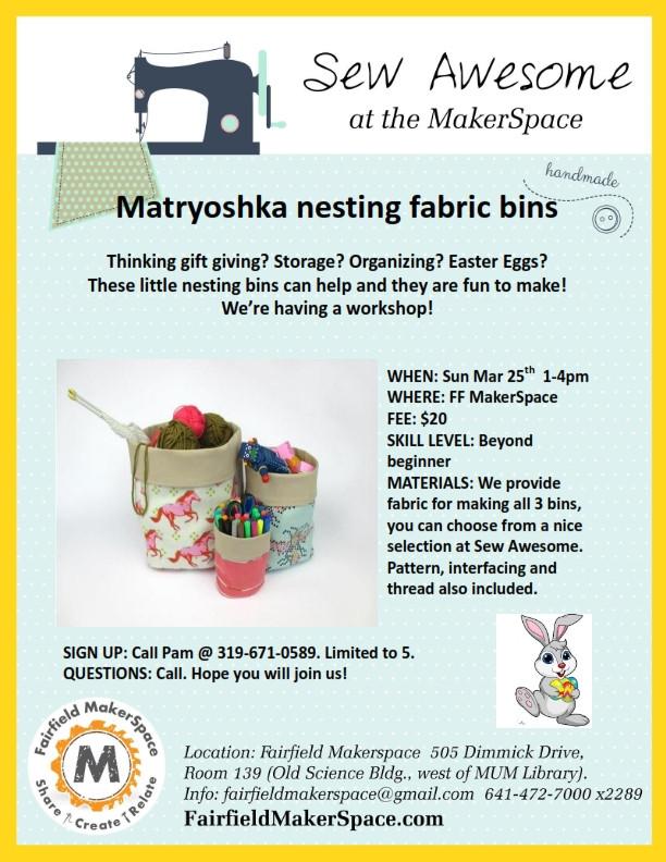 Matryoshka Nesting Fabric Bins