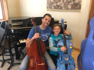 Cello instructor and student