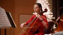 Cello student practicing