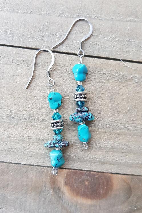 """Boucles d'oreilles """"Ayianna"""" turquoise et cristal"""