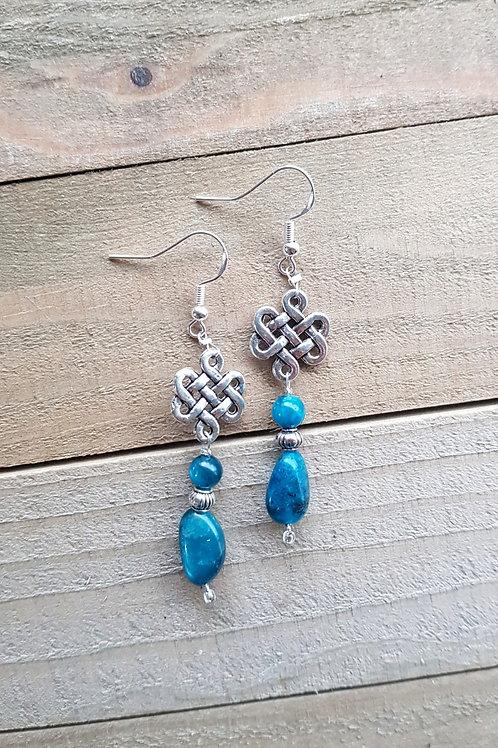 """Boucles d'oreilles """"Unity"""" - Apatite bleue"""