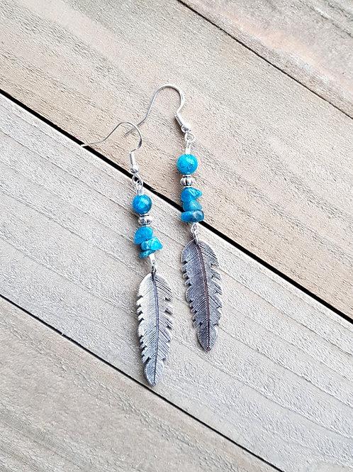 """Boucles d'oreilles """"Chamane"""" - Apatite bleue"""