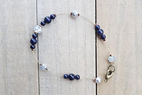 Bracelet en pierre du soleil synthétique bleue