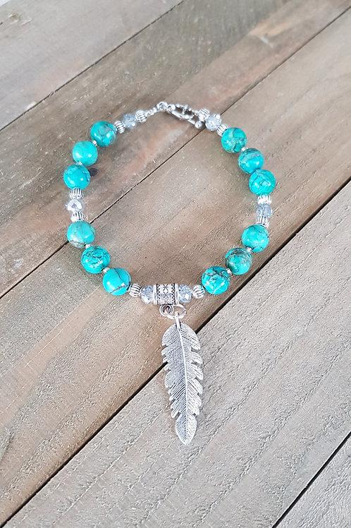 """Bracelet amérindien """"Chamane""""  - Turquoise"""