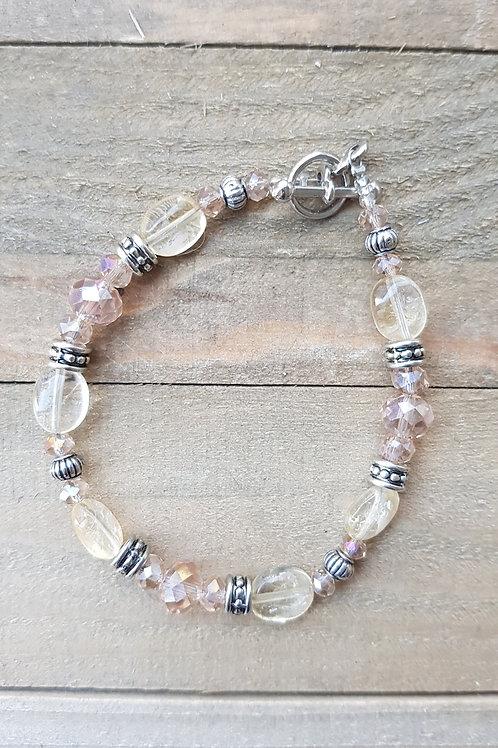 Bracelet Citrine perles allongées