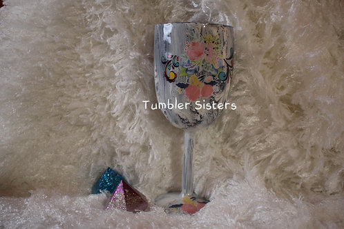 Crackle Wine Goblet with flowers