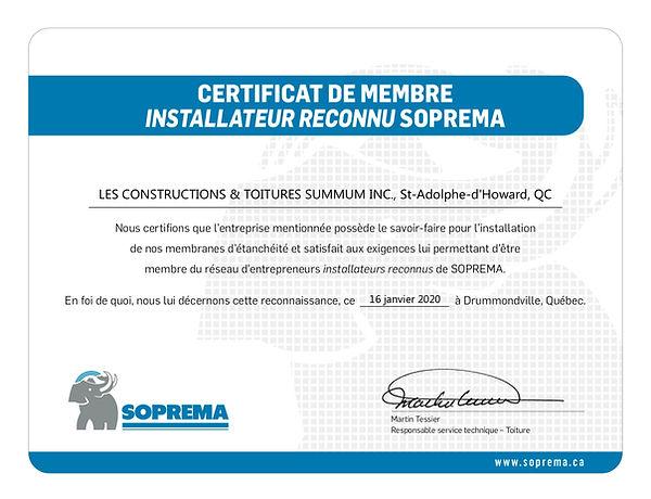 Certificat IR - Les Construction & Toitu