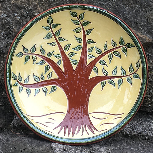 Tree with Green Leaves - 7 Inch Plate - Pennsylvania German Redware -  SG939