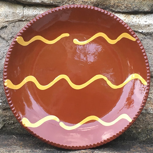 Pennsylvania Folk Art Redware Plate - Slipware - SP275