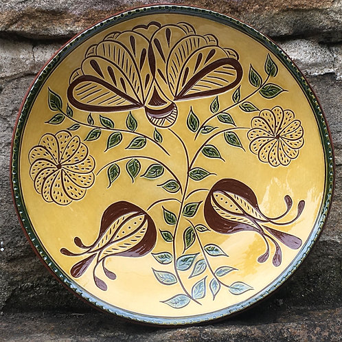 3 Flowers Redware Plate- SG874