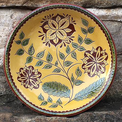 3 Flowers with Green Leaves Bowl - SG824