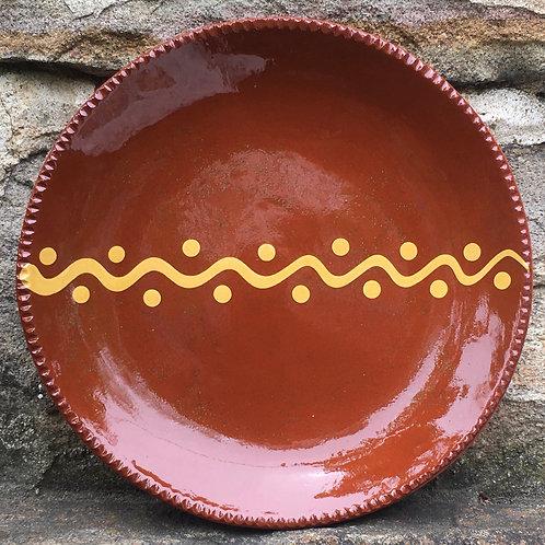 "Pennsylvania Redware Pottery - Slipware 10"" Plate - SP334"