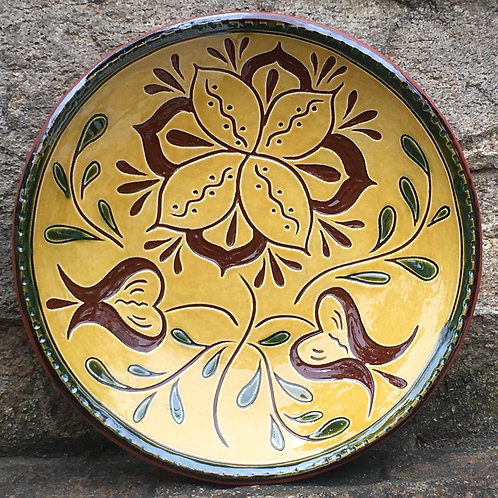 Three Flowers with Green Leaves - 7 Inch Plate - Pennsylvania German Redware -