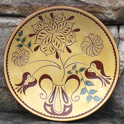 Five Flowers Plate - Pennsylvania German Redware Pottery - SG885
