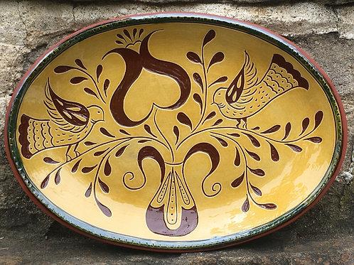 Love Birds with a Heart Platter - Pennsylvania Redware -  SG956