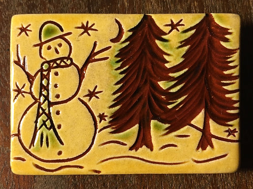 Snowman Pin - Redware - Sgraffito (PIN62)