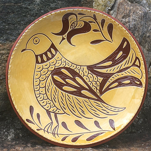 Folk Art Bird on a Redware Plate - SG843