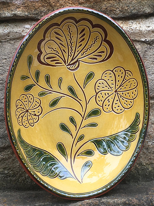 3 Flowers with Green Leaves Oval Redware Bowl - SG951