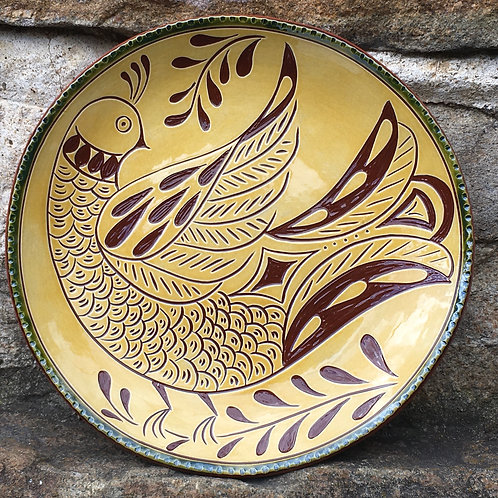 Folk Bird Redware plate - SG785
