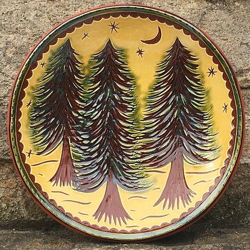 3 Pine Tree 7 Inch Plate - Pennsylvania German Redware -  SG928