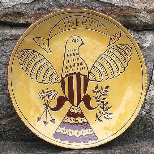 Liberty Eagle 10 inch Plate - Pennsylvania German Redware Pottery - SG955