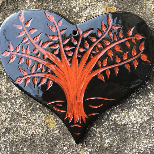 Tree of Life Heart Ornament in Black