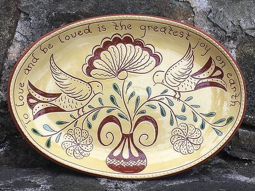 Love Birds with Green Leaves Platter -  SG945