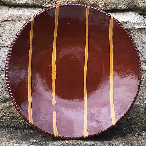 Slipware Plate with Dark Glaze - SP196