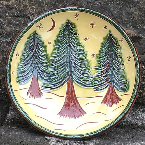 3 Green Trees - 7 Inch Plate - Redware -  SG937