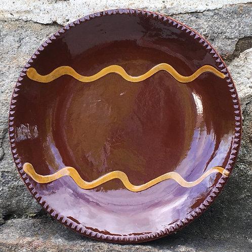 Pennsylvania German Slipware Plate with dark glaze - SP250